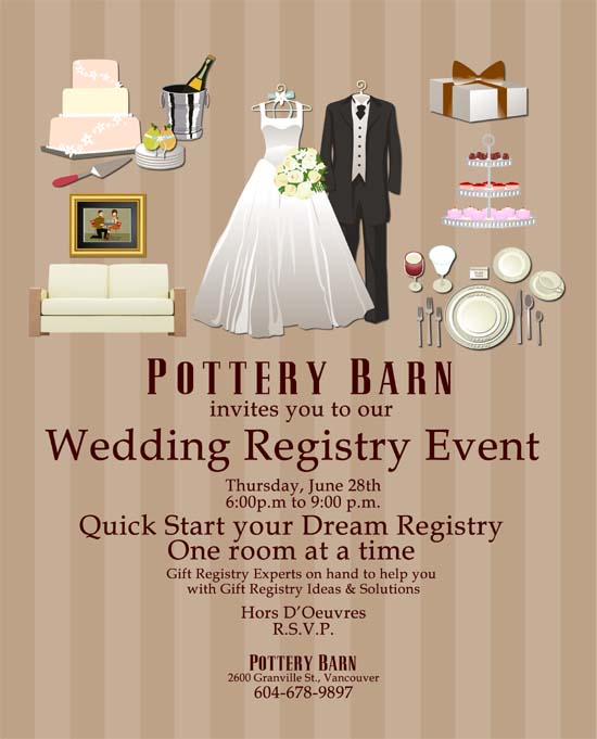 Wedding registry event pottery barn vancouver countdown events it gets better especially if you are over whelmed with all of the options the pottery barn registry experts will be available to assist you in person with junglespirit Gallery
